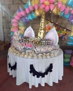 Birthday Table Decoration Ideas For Husband. Black And Gold Table Decor Birthday Party Decorations . Hooray For A Sprinkle Party Blakely's Birthday Party! Unicorn Themed Birthday Party, First Birthday Parties, Birthday Party Themes, Birthday Ideas, 5th Birthday, Unicorn Party Decor, Ballon Party, Birthday Table Decorations, Birthday Party Centerpieces
