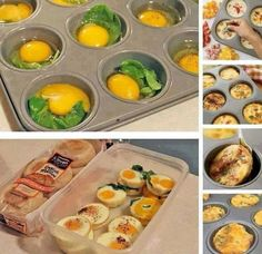 Mmmm yummy breakfast egg muffins, save them for a quick breakfast! Egg Muffins, Breakfast Muffins, Breakfast Recipes, Breakfast Ideas, Brunch Ideas, Breakfast Crowd, Funny Breakfast, Breakfast Sandwiches, Breakfast Buffet