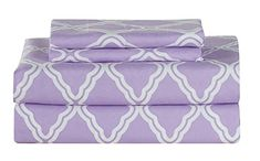 All American Collection New Microfiber 4 Piece Sheet Set Geometric Cone Design Printing Full Lavender ** You can find more details by visiting the image link.