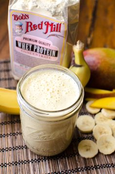 Tropical Breeze Smoothie: Blend: ¼ cup whey protein powder, ½ cup frozen mango chunks, 1 banana, ½ cup coconut milk, ¾ cup pineapple juice, 1 tsp chia seeds