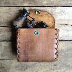 vintage c. 1970s handmade leather case with whipstitched border by MouseTrapVintage, $18.00
