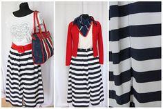 XL L striped Vintage Skirts   80s  Sailor skirt  Nautical Elegant Fashion Midi Vintage Clothing Skirt UK 20/ EU 48 large summer