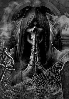 Death, I prey you actually come for my sole in person✌ Grim Reaper Art, Don't Fear The Reaper, Dark Gothic, Gothic Art, Gothic Images, Dark Fantasy Art, Dark Art, Imagenes Dark, Reaper Tattoo