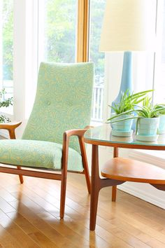Yngve Ekstrom Mingo Chair Reupholstered in Mint Fabric                                                                                                                                                                                 More