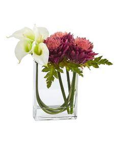 Nearly Natural White Calla Lily & Mauve Artichoke Glass Potted Arrangement | zulily
