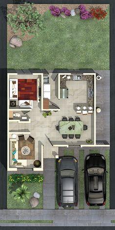 Pinterest: @claudiagabg | Townhouse 2 pisos 3 cuartos 1 estudio / planta 1