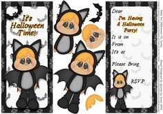Batty for Halloween DL Party Invite on Craftsuprint - Add To Basket!