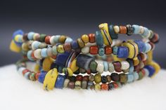 Men's Liberty Street Bracelet with Matte Czech Beads, Antique Blue And White African Goombas, Blue Krobos and 16th Century Trade Beads