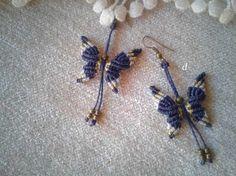 Pendientes de mariposa, hechos en macramé, con bolitas de latón a elegir entre brillo ó mate, 5 colores a elegir, pendientes boho, gipsy