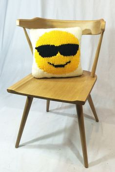 Emoji Pillow Chunky Knit Pillow Sunglass by LaReserveDesign