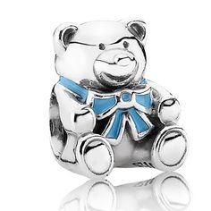 2016 Pandora Silver Baby Boy Teddy Bear Charm 791124EN41