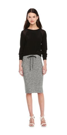 Drawstring Knit Skirt from Joe Fresh. We update the long skirt silhouette with casual details like a drawstring waist and salt and pepper fabrication.  Only $4.94.