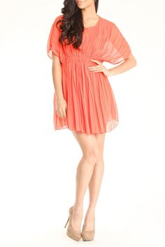 Romeo and Juliet Couture Britney Short Sleeve Draped Dress In Coral