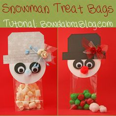 Design these adorable snowman treat bags and candy favors for the holidays - DIY Tutorial