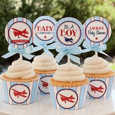 Airplane Baby Shower Decorations   Airplane Cupcake Toppers   Boy Baby  Shower   DIY Printable   PERSONALIZED