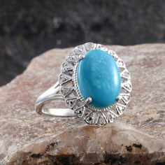 Arizona Sleeping Beauty Turquoise and Diamond Ring in Platinum Overlay Sterling Silver (Nickel Free)