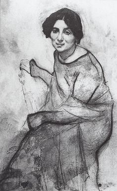 Portrait of the pianist Wanda Landowska, 1907 Valentin Serov Strong contour lines define forms Life Drawing, Figure Drawing, Drawing Sketches, Painting & Drawing, Art Drawings, Portrait Illustration, Russian Art, Drawing Techniques, Gravure