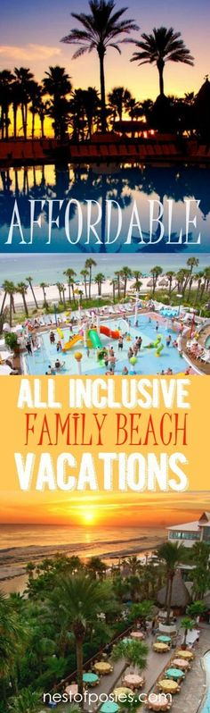 Affordable All Inclusive Family Beach Vacations. Meals, kids' activities or kids' camp, nightly movies, ocean front and so much more! #allinclusivevacationideas #familyvacationmeals