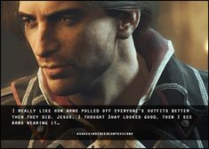 "assassinscreedconfessions: "" I really like how Arno pulled off everyone's outfits better then they did. Jesus, I thought Shay looked good, then I see Arno wearing it… image from madeinmasyaf Assassian Creed, Assassins Creed Funny, King Of My Heart, Keanu Reeves, Unity, Nerdy, Fandoms, Games, Fictional Characters"