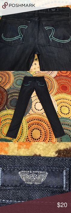 Rock & Republic Jeans Size 27 PERFECT UNWORN CONDITION!!! Rock & Republic Dark Denim Jeans .... Size 27 ...  Beautiful Green  threading on back pockets❤.. bought but they are a little too snug for me😞... my Loss is your Gain!  Pet free smoke free home Rock & Republic Jeans Ankle & Cropped