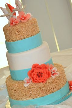 Beach Wedding Cake, Rice Krispie Treat Cake with Marshmallow Fondant