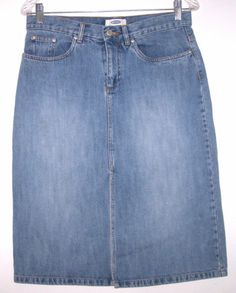 Old Navy Jeans Denim Skirt 6 Straight Knee Length Modest Figure Flattering CUTE!