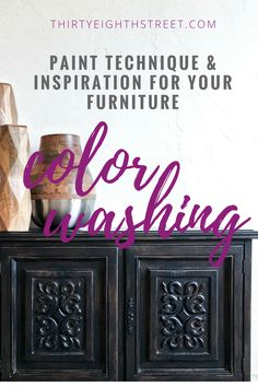 BEST site for Painted Furniture! Learn How To Refinish Your Furniture Using A Paint Color Wash! Black Painted Furniture, Painted Bedroom Furniture, Chalk Paint Furniture, Colorful Furniture, Repurposed Furniture, Refurbished Furniture, Furniture Makeover, Diy Furniture, Furniture Refinishing
