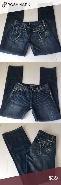 Miss Me Bootcut Jeans, size 30 Miss Me Bootcut Jeans in size 30. Flat lay measure of the waist is 16.5. Rise is 8.5, inseam is 34, and leg opening is 8.75. Features factory fading, whiskering, distress and silver and copper button and rivers. In overall excellent condition, please ask if you have any questions. Miss Me Jeans Boot Cut