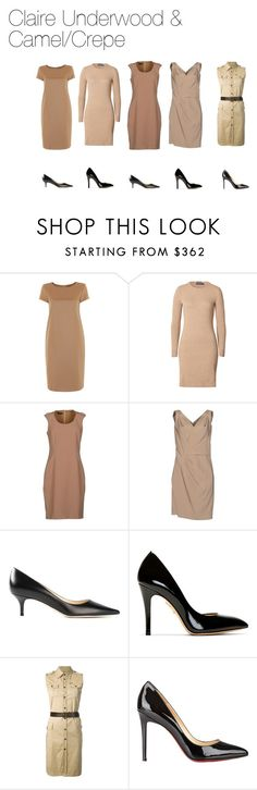 """""""Claire Underwood & Camel/Crepe"""" by oliviapope411 ❤ liked on Polyvore featuring MaxMara, Polo Ralph Lauren, Emporio Armani, Dsquared2, Jimmy Choo, Charlotte Olympia and Christian Louboutin"""