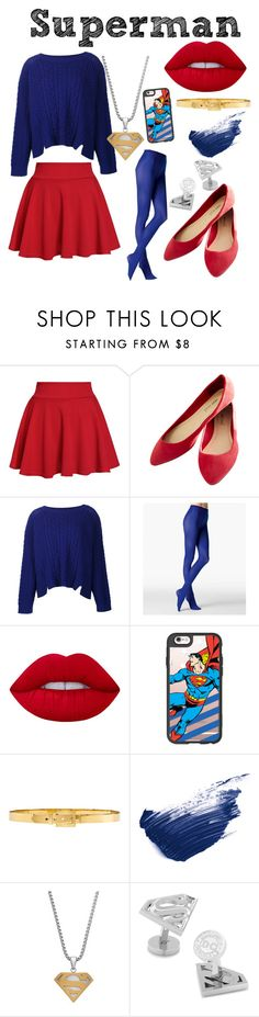 """""""Superman Inspired"""" by jaqsancake ❤ liked on Polyvore featuring Wet Seal, ZAC Zac Posen, Fogal, Lime Crime, Casetify, Alexander McQueen, By Terry and Cufflinks, Inc."""