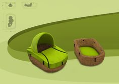 Cork Eco Cradle by Portuguese designer Ricardo da Silva. Cork is an excellent material for temperature and acoustic insulation, is anti-bacterial, shock absorbent and anti-flammatory http://www.behance.net/gallery/Eco-design/2780137