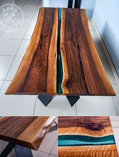 Large dining table made of slabs of wood Walnut with live edges. Fill resin with a blue color of a river. Feet - Metal. Table length 200, width 100 cm. #hardmassive #tablewood