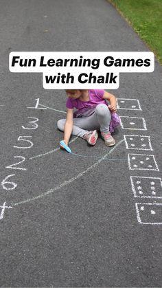 Fun Learning Games with Chalk Preschool Learning Activities, Preschool At Home, Kids Learning Activities, Infant Activities, Educational Activities, Teaching Kids, Outdoor Activities For Preschoolers, Learning Games For Kids, Preschool Projects