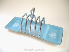 MIDWINTER Rhapsody toast rack condiment caddy, vintage 1950s pottery, retro 50s ceramic, turquoise blue white floral, food serving accessory