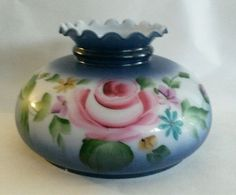 """Vintage Hand Painted Gone With The Wind Lamp Shade Blue Ruffled Top 9.5"""" Fitter"""