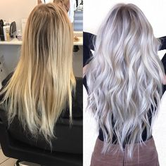 Hair Color Trends In 2019 Before & After: Highlights On Hair + Tips;T… Hair Color Trends In 2019 Before & After: Highlights On Hair + Tips;Trendy Hairstyles And Colors Women Hair Colors; Platinum Blonde Hair, Blonde To Grey Hair, Icy Blonde, Silver Platinum Hair, Gray Hair, Platinum Blonde Highlights, Ash Blonde Balayage Silver, Blonde Shades, Gold Blonde
