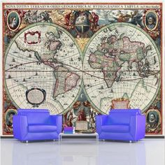 Rs blue map political wall mural wallpaper and contact papers giant photo wallpaper 17th century ancient old world map wall mural 335 x 236m sciox Images