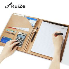 RuiZe Multifunction PU leather folder organizer padfolio soft cover A4 big file folder Contract Clamp with notepad office supply #Affiliate
