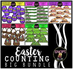 Easter Counting Clip Art Big Bundle {Educlips Clipart} This is a collection of 5 sets of clipart : Easter Bunnies Counting, Easter Eggs Counting, Easter hats Counting, Egg Basket Counting, Easter Lambs Counting.