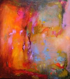 Abstract Painting original orange bright small by Mossmottle