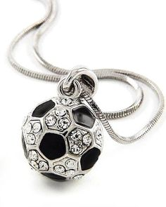 "This is an adorable silvertone clear rhinestone soccer ball pendant necklace. Perfect for any girl who loves the sport or ""soccer mom!"" Pendant measures 7/8"" in length and necklace is on an 17"" snake chain. Your necklace will come to you in a foil gift box great for gift giving. Box may be a different color than the one shown."