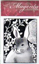 New CLING MAGENTA Rubber Stamp Asiatic Bunny Rabbit Cling Spring Easter flowers