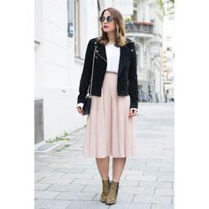 MIDI SKIRT, LEO BOOTS, CATEYE SUNGLASSES & LEATHER JACKET by Important Part