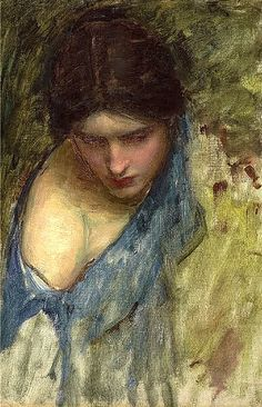 John William Waterhouse - detail with loose strokes contrasted by more developed face