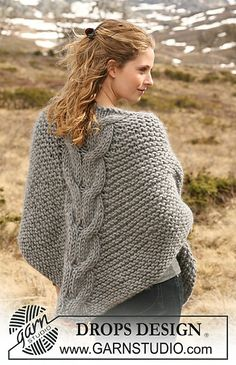 Free Pattern: 116-14 Shawl in garter st with cables.