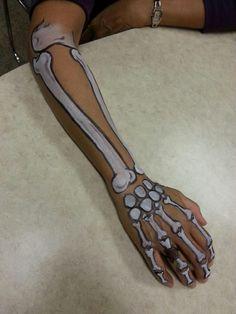 Made this skeleton arm for a coworker Skeleton Face Makeup, Skeleton Face Paint, Hand Makeup, Sugar Skull Makeup, Skeleton For Kids, Female Skeleton, Diy Halloween Costumes, Halloween Make Up, Artistic Make Up