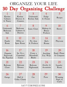 30 Day Organizing Challenge To Declutter Your House & Life - Free Organization P. - 30 Day Organizing Challenge To Declutter Your House & Life – Free Organization Printable – Savv -