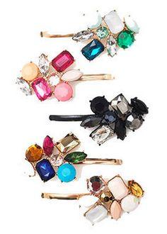 Colorful crystal bobbi pins http://rstyle.me/n/n8pwznyg6