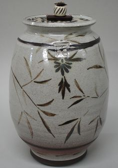 Lidded form with brushwork and Japanese paper on the lid