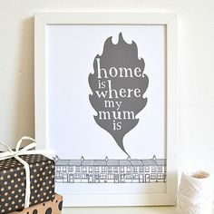 'Home Is Where My Mum Is' - Grey with White frame